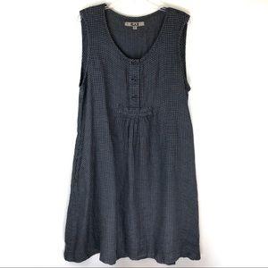 Flax Gingham Sleeveless Linen Dress
